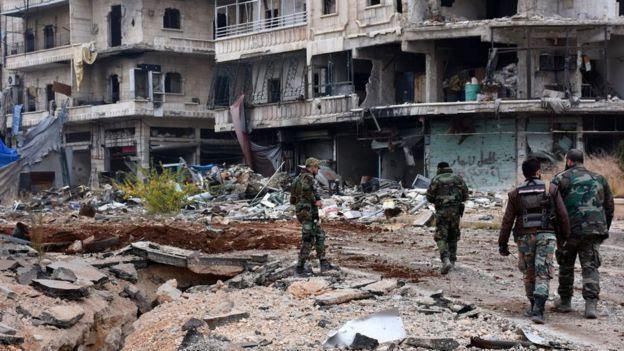 صورة جنود سوريين في حي الشعار