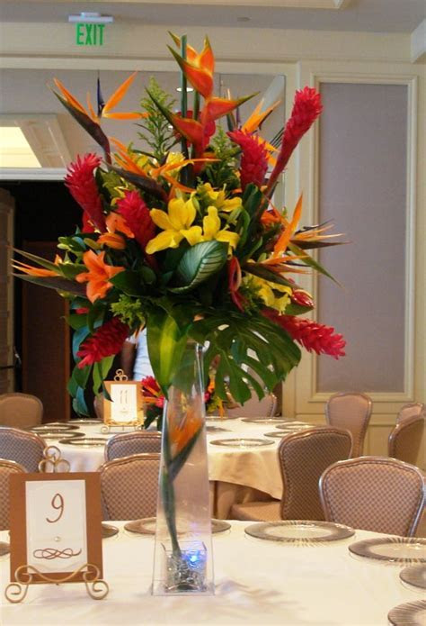 TROPICAL AND EXOTIC FLOWERS TALL CENTERPIECE TFM CP750