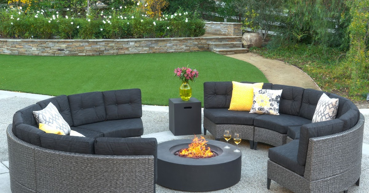 Sectional Patio Furniture With Fire Pit, Dineli Patio Furniture Sectional Sofa With Gas Fire Pit Table Outdoor