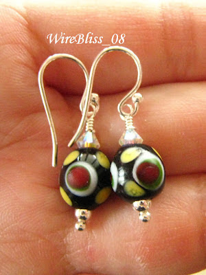 wire wrap earrings with Borneo ceramic beads