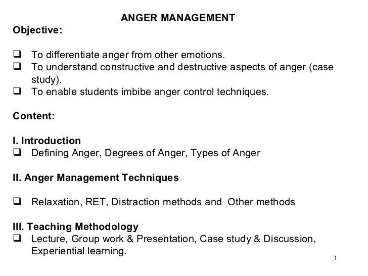 Anger Management ClassGoals and Objectives
