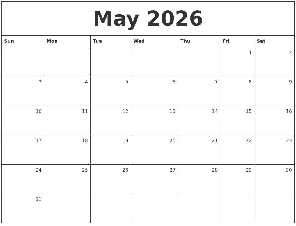 may 2026 monthly calendar