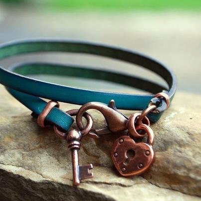 Heart Lock and Key Wrap Leather Bracelet in Copper or Silver