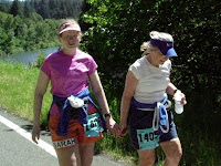 Sweet Pea and Eagle Momma truckin' along about two miles from the finish