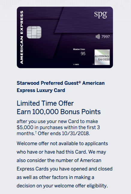 SPG Amex Luxury Card 100,000 Bonus Offer - 3 Days No Chase Card Restriction - The Reward Boss