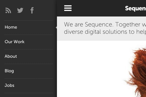 sequence startup homepage navigation sliding vertical