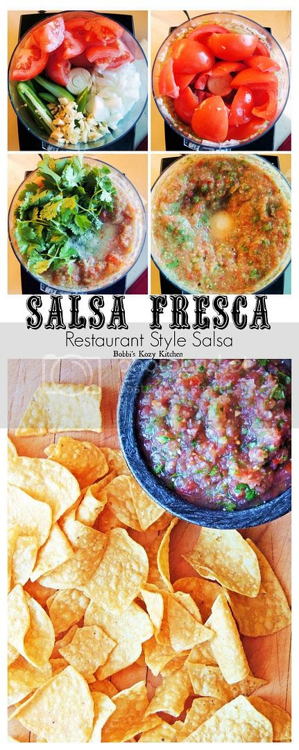 Salsa Fresca (Restaurant Style Salsa) - Fresh restaurant style salsa at home in a matter of minutes! From www.bobbiskozykitchen