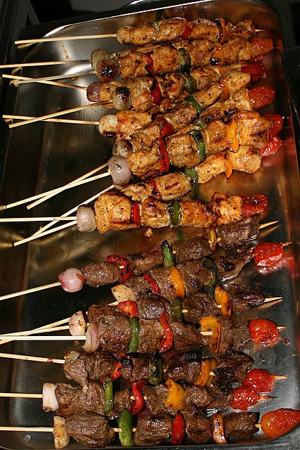 Fish and lamb kebabs, marinated with Middle Eastern spices