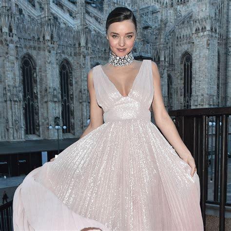 Miranda Kerr Wearing Pink Metallic Gown Milan Fashion Week