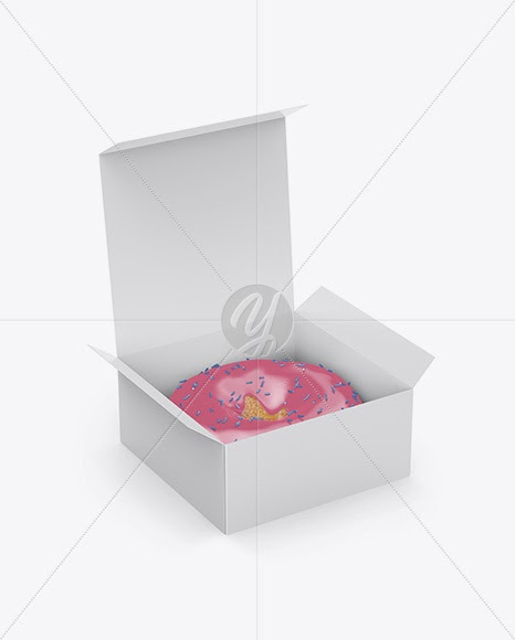 Download Download Opened Paper Box With Donut Mockup - Half Side ...