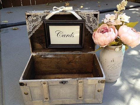 Rustic Ivory Wedding Card Box With Cards Sign /Guest Table