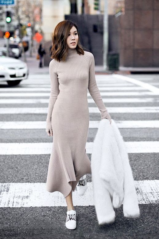 Le Fashion Blog Blogger Style White Faux Fur Coat Nasty Gal Long Tan Ribbed Turtleneck Dress Vince Sneakers With Python Details Via Tsangtastic