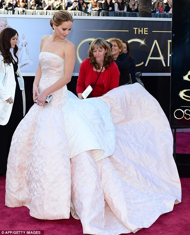 White hot: The best actress nominee, who is also the new face of Miss Dior, went all out with her gown