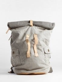 Paul Smith Accessories Ecru Striped Canvas Washed Army Duffle Back Pack