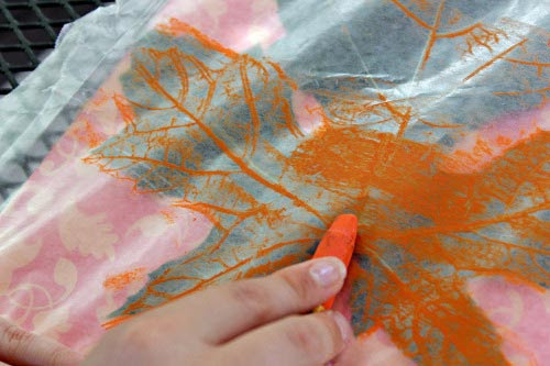 Leaf Print with oil pastel on wax paper | Edventures with Kids