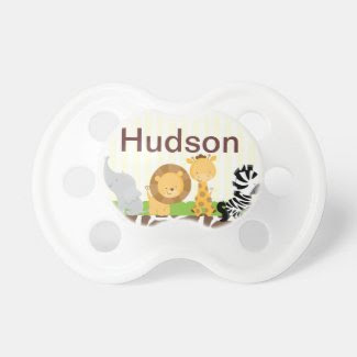Jungle Safari Pacifier Personalized with Baby Name