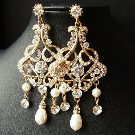 GOLD Chandelier Bridal Wedding Earrings, Statement Gold