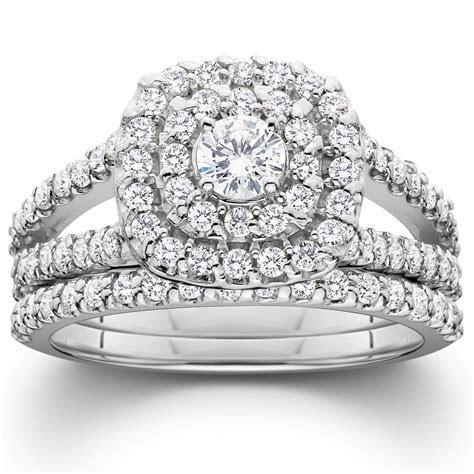 1 1/10ct Cushion Halo Diamond Engagement Wedding Ring Set