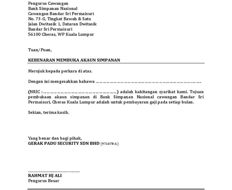 Surat Rasmi Permohonan Tukar Akaun Bank Selangor N