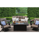 Fire Pit Dining Table Set 6PC Sofa Club Swivel Rocker End Table