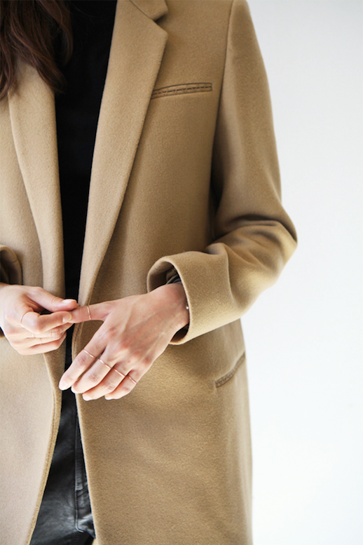 Le Fashion Blog Longline Camel Coat Gold Dainty Ring Set Leather Pants Via Death By Elocution