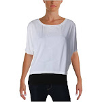 MPG Womens Velvet Print Short Sleeve T-Shirt White
