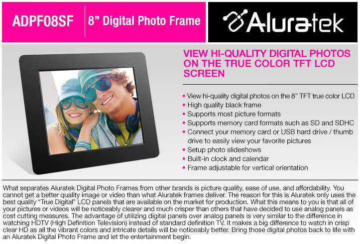 Buy The Aluratek 8 Inch Digital Photo Frame At Tigerdirectca