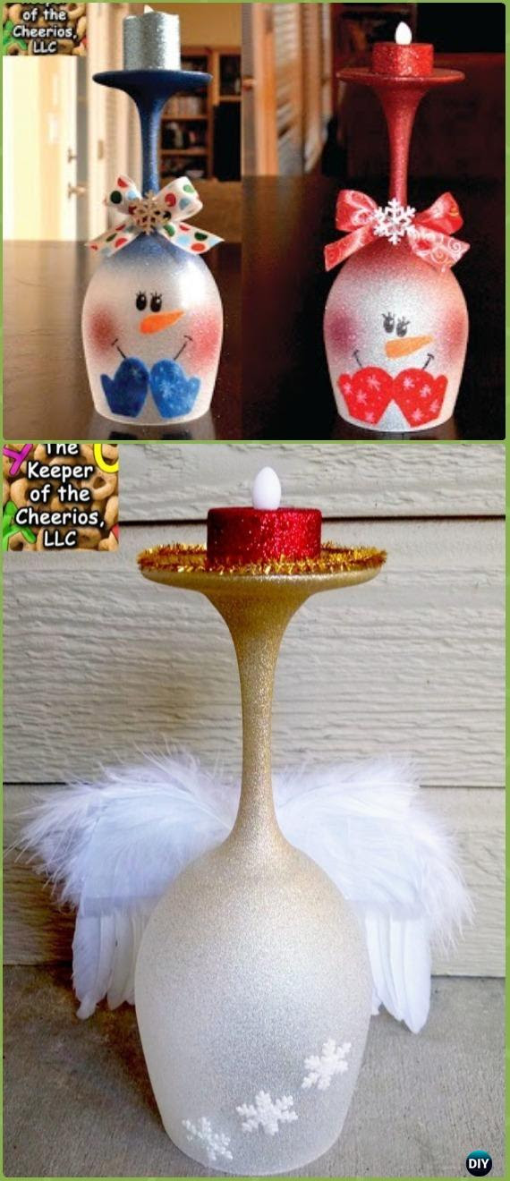Diy Glitter Spray Christmas Wine Glass Candle Holder Instruction