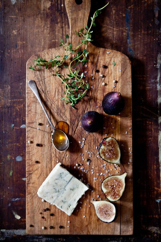 // cheese plate with figs and honey