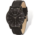 Chisel Black IP-plated Stainless Silver Dial Black Leather Mens Watch - TPW99