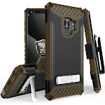 Galaxy S9 Case with Clip, Brown Tri-Shield Rugged Hybrid Cover with Holster [with Kickstand] and [Bonus Wrist Strap] for Samsung Galaxy S9, SM-G960