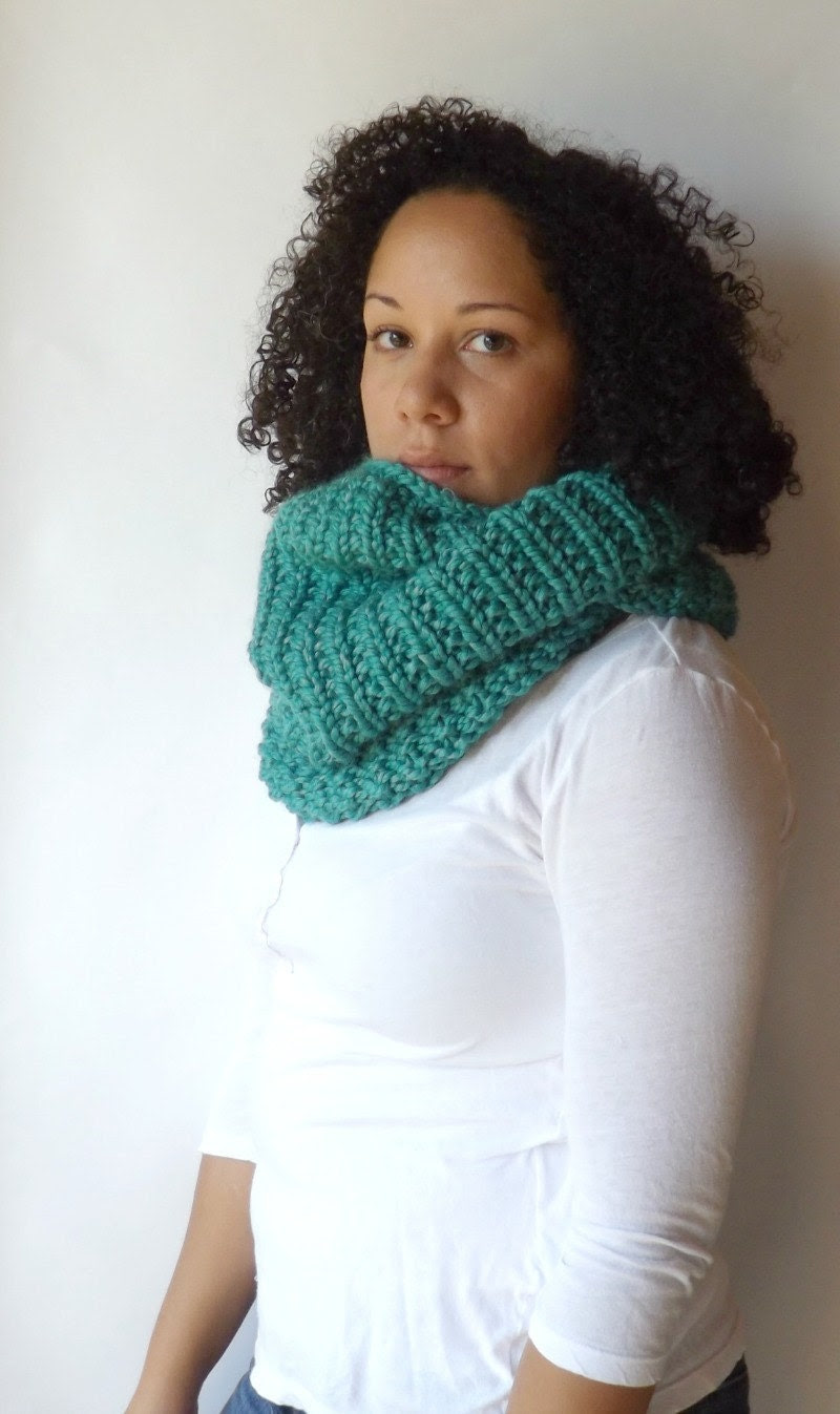 Made to Order: Handmade Knitted Chunky Textured Cowl Scarf - Eyelah