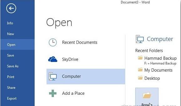 membuka dokumen di MS Word