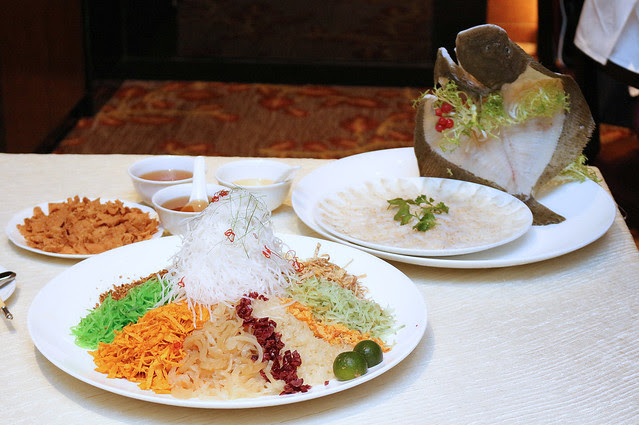 "Turbot Fish ""Yu Sheng Loh Hei"" Platter ($68/$128, available for takeaway)"