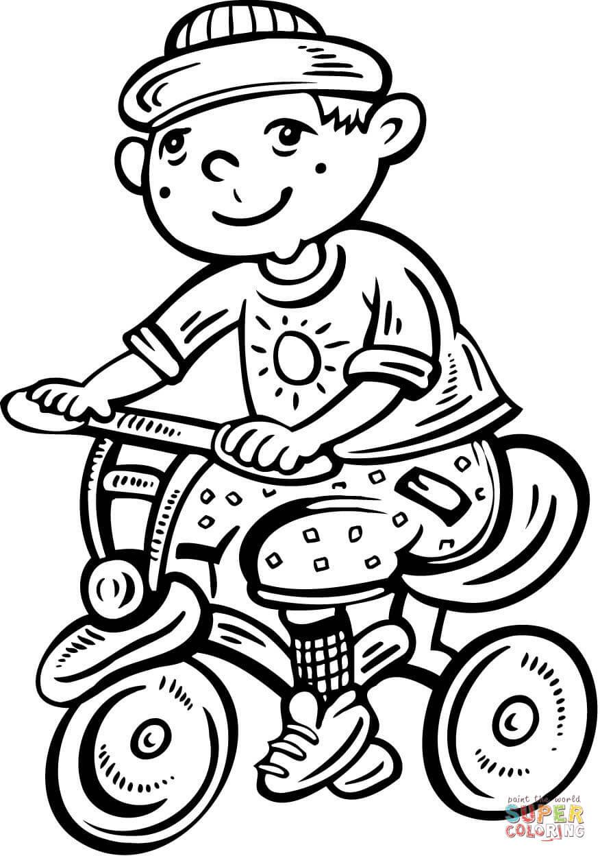 Klick das Bild Junge fährt auf seinem Fahrrad