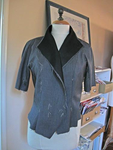 Grey Vogue suit jacket started