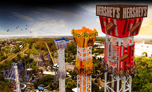Hershey Triple Tower drops at Hersheypark in 2017