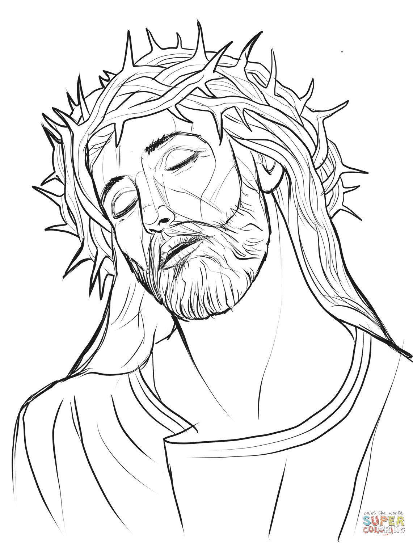 Dibujo De Jesús Con La Corona De Espinas Para Colorear Dibujos