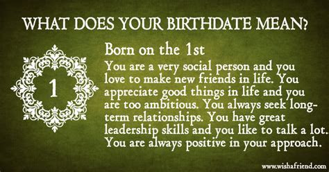 What Does Your Birth Date Mean?   Born on the 1st