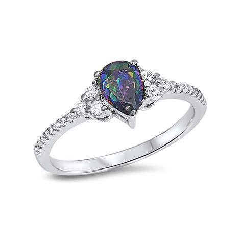Teardrop Engagement Ring 925 Sterling Silver Round CZ