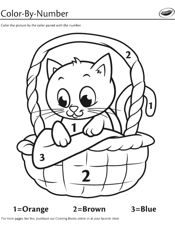 Kitten in a Basket Color-By-Number Coloring Page   crayola.com