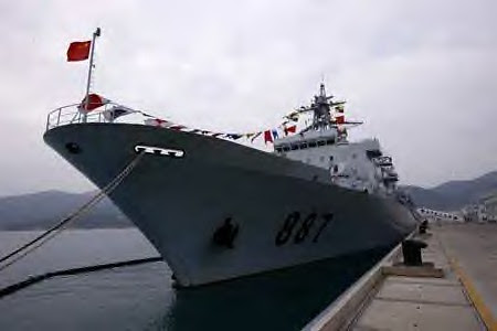 Photo taken on Dec. 25, 2008 shows the Chinese Navy's supply ship Weishanhu in Sanya, capital of South China's Hainan Province. by Pan-African News Wire File Photos