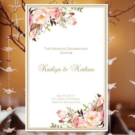 Wedding Program Template Romantic Blossoms DIY Printable