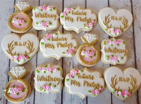 Future Mrs. phelps bridal cookies   Hayley Cakes and