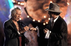 Johnny Depp Presents Keith Richards with The Rock Immortal Award at The Spike TV Scream Awards 2009