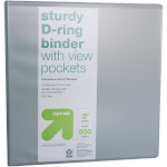 """2"""" 3 Ring Binder Clear View Gray - Up&Up , Adult Unisex"""