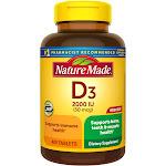Nature Made Vitamin D3, 2000 IU, Tablets, Mega Size - 400 tablets