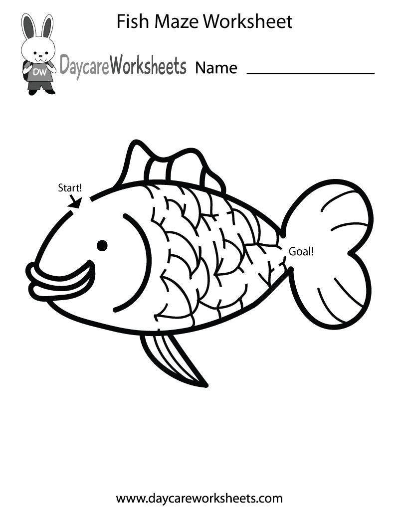 Free Preschool Fish Maze Worksheet