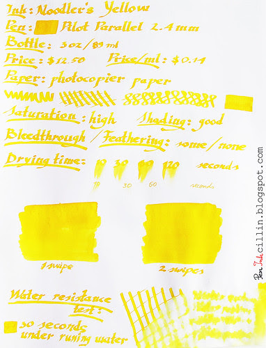 Noodler's Yellow on photocopier paper