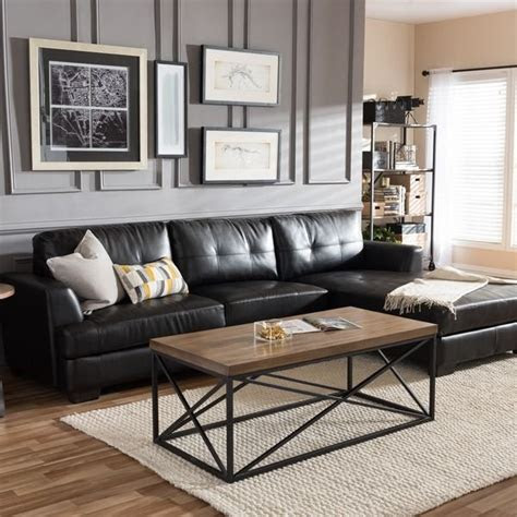 dobson black leather modern sectional sofa dc living
